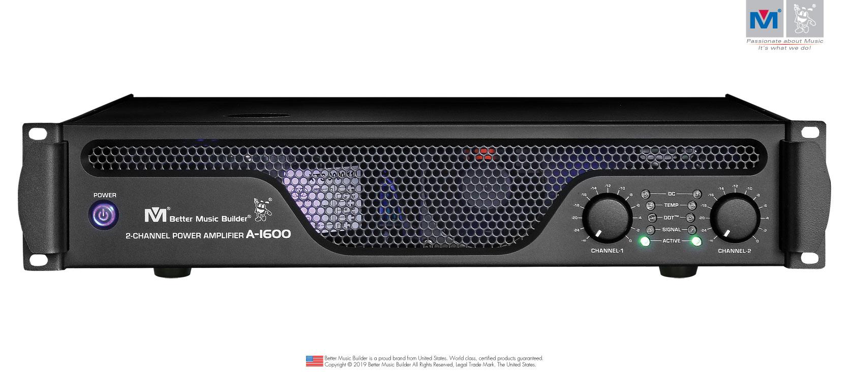 Better Music Builder (M) A-1600 2-Channel Power Amplifier 1200 Watts