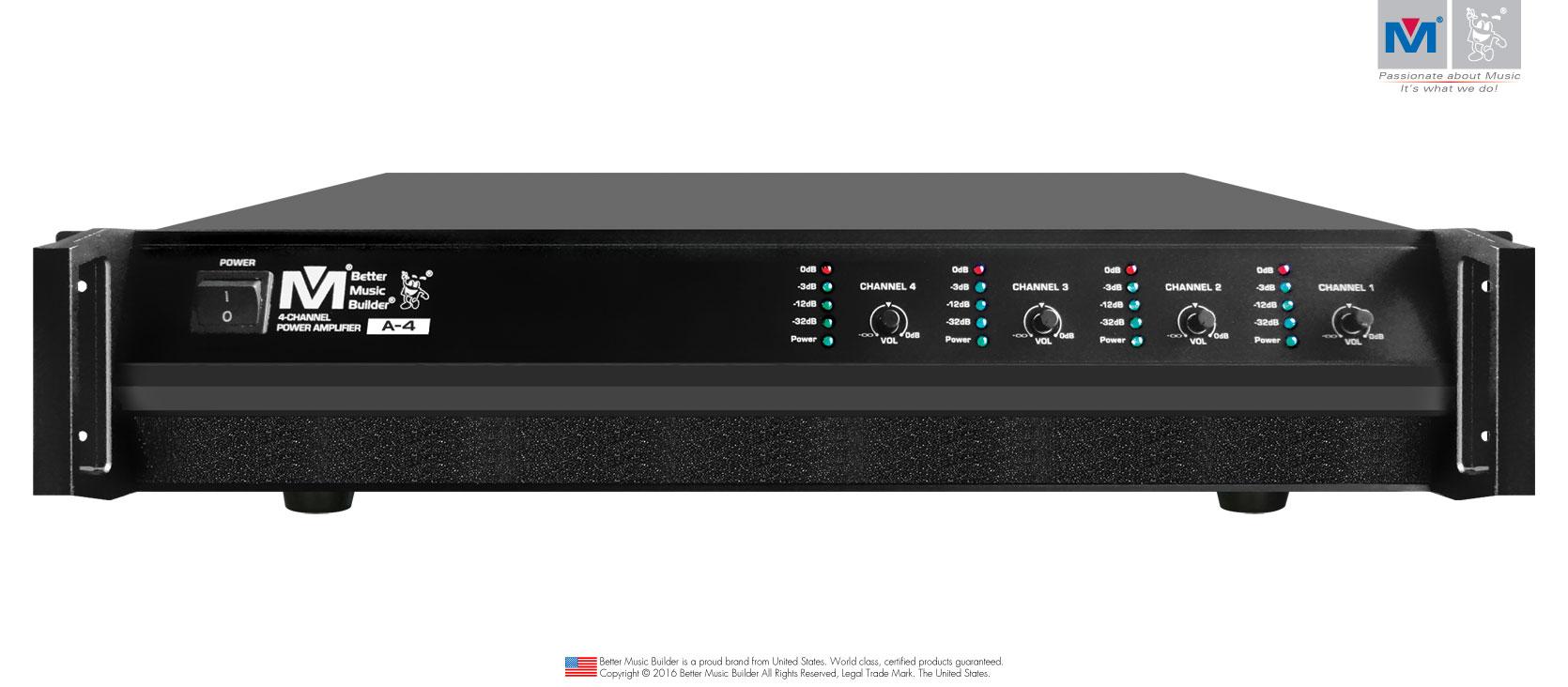 Better Music Builder (M) A-4 4-Channel Power Amplifier 1600 Watts
