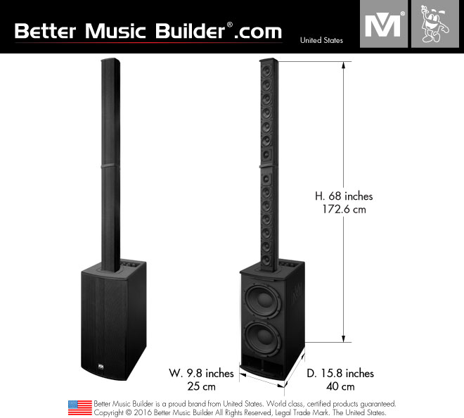 Better Music Builder (M) M-8 Line Array 3-Way Active/Powered Speaker (One Set: 2 x Column Speaker + 1 x Subwoofer)