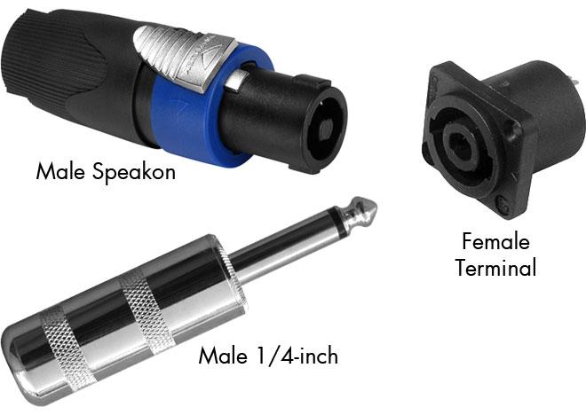 "Combination of Speakon Connector, Speakon Panel Mount & 1/4"" Speaker Plug"