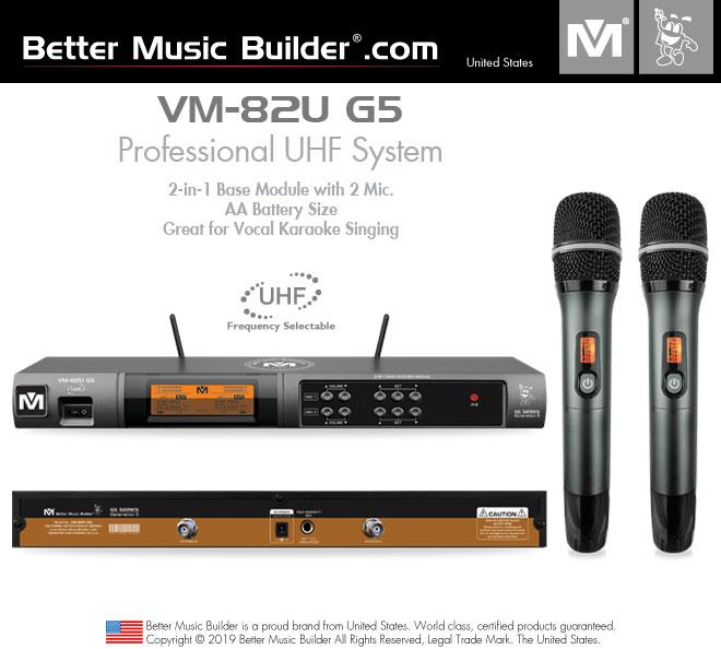 Better Music Builder (M) VM-82U G5 Professional Dual Channel UHF Wireless Microphone System