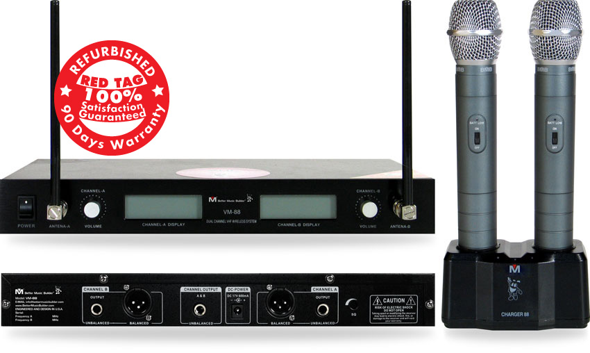 Better Music Builder (M) VM-88 Dual Channel Wireless Mic System (Refurbished)