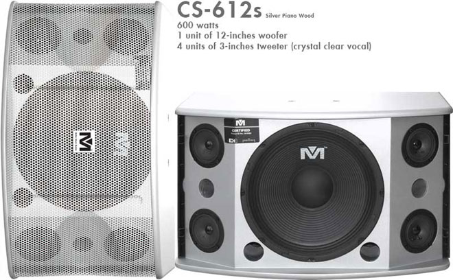 Better Music Builder (M) CS-612s Professional 600 Watts Karaoke Vocal Speakers-Silver