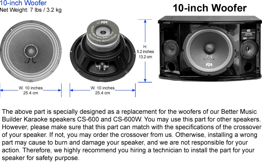 Woofer 10-inch (Premium Grade)