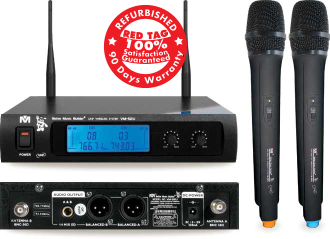 Better Music Builder (M) VM-52U Professional UHF Dual Wireless Microphone System - Refurbished (Good Condition)