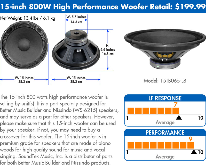 Woofer 15-inch 800 Watts High Performance Model: 15TB065-L8
